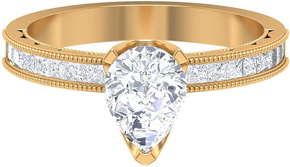 1.74 CT D-VSSI Pear Shape Moissanite Engagement Ring Solitaire Our shop most popular Fashionable