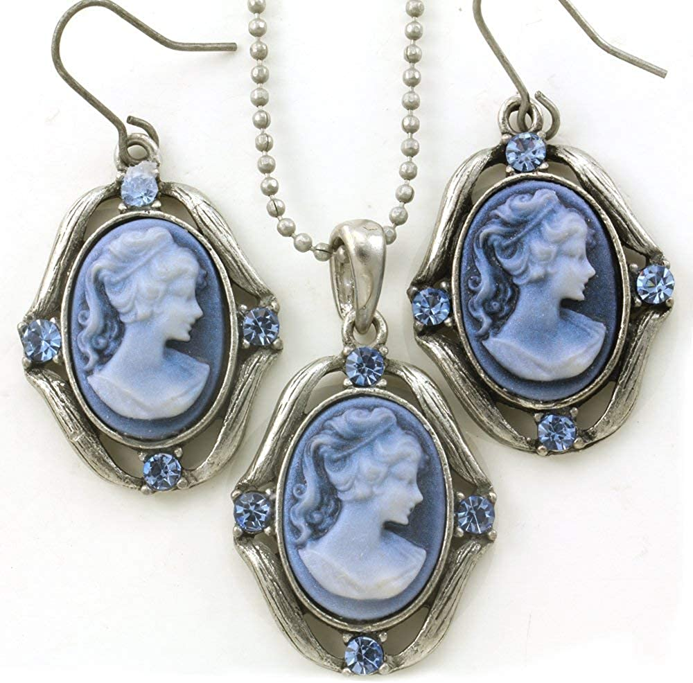 Soulbreezecollection Light Blue Cameo Necklace Pendant Dangle Drop Earrings Fashion Jewelry Set
