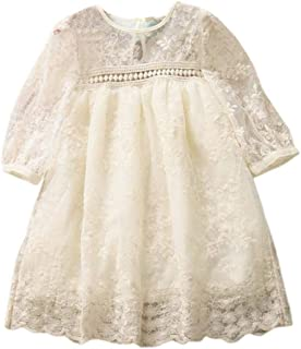 GoodLock Baby Girls Fashion Dresses Toddler Kids Lace Patchwork Solid Princess Dress Clothes