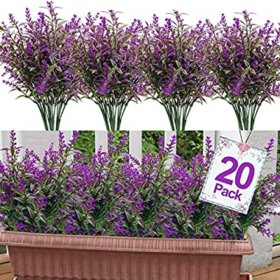 GBD 20 Bundles Lavender Artificial Flowers Outdoor UV Resistant Flowers Plastic Fake Flowers Plants for Outside, Artificial Flowers Faux Plants for Window Box Hanging Planter Home Porch(Red Lotus)