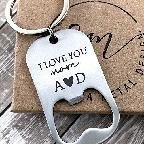 Valentines Day Gift Keychain Bottle Opener Personalized Boyfriend Gift Idea For Him Men's Gift For Him Husband I Love You More Bottle Opener - MOR-BOT