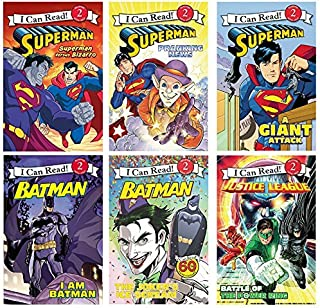 I Can Read Six Book Set : Superman Versus Bizarro, Batman The Joker's Ice Scream, Superman Pranking News, I Am Batman, Superman A Giant Attach, Meet the Justice League Battle of the Power Ring