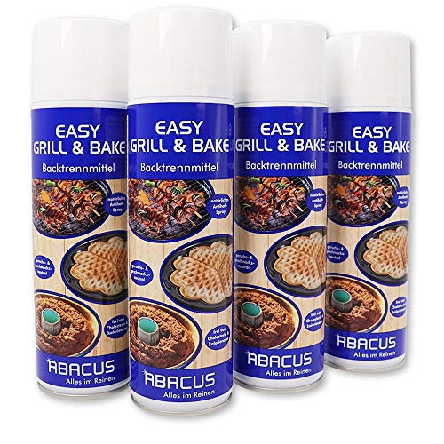 ABACUS 4x 500 ml EASY GRILL & BAKE - Backtrennmittel Spray Backtrenn-Mittel Antihaft Backpapierersatz Backpapier-Ersatz Waffeleisen Pfannen Formen Grillrost Brotbackmaschinen (7334)