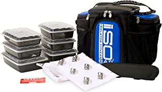 Meal Prep Bag ISOBAG 3 Meal Insulated Lunch Bag Cooler with 6 Stackable Meal Prep Containers, 2 ISOBRICKS, and Shoulder Strap - MADE IN USA (Black/Blue Accent)