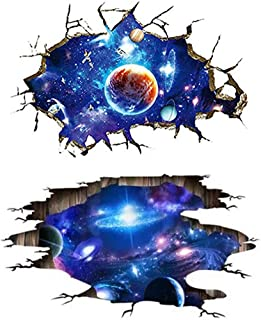 Aunifun 2 Pack 3D Space Galaxy Wall Stickers, Self-Adhesive Removable 3D Milky Way Cosmic Outer Space Planet Starry Sky for Wall Decals Home Art Decor