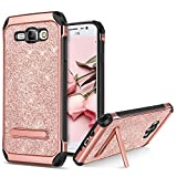 BENTOBEN Phone Case for Samsung Galaxy J7 2015/J700, Shockproof Glitter Bling Sparkle Kickstand Cell Phone Case 2 in 1 Heavy Duty Hard PC Soft TPU Bumper Protective Cases for Girls, Women - Rose Gold