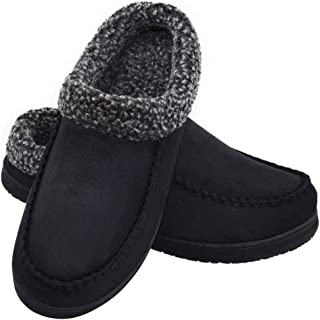 LA PLAGE Men's Anti-Slip Indoor/Outdoor Microsuede Moccasin Slippers with Hardsole