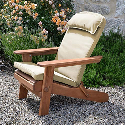Plant Theatre Adirondack Chair Luxury High Back Cushion with Head Pillow in Warm Beige