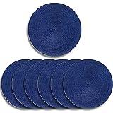 Deamos - Set di 6 tovagliette rotonde con bordi intrecciati, resistenti al calore, antiscivolo, 38 cm, facili da pulire e da pulire, colore: Blu reale