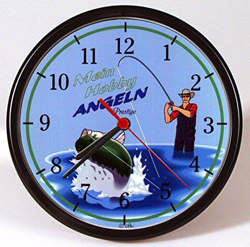 Wanduhr - Uhr - Clock - batteriebetrieben - Angler - Mein Hobby Angeln - Größe ca 25 cm - 56833