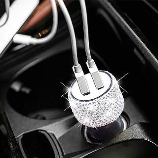 دوچرخه USB Car Charger Bling Bling Rhinestones دستباف تزئینات اتومبیل کریستال برای Decors برای شارژ سریع اتومبیل برای iPhone، iPad Pro / Air 2 / Mini، Samsung Galaxy Note9 / 8 / S9 / S9 +، LG، Nexus، HTC، و غیره