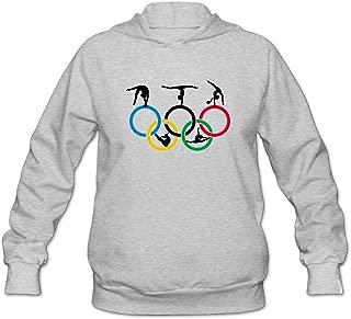 Womens Sportswear Drawstring Hoodie Sweatshirt,Gymnastics And Circle Ash