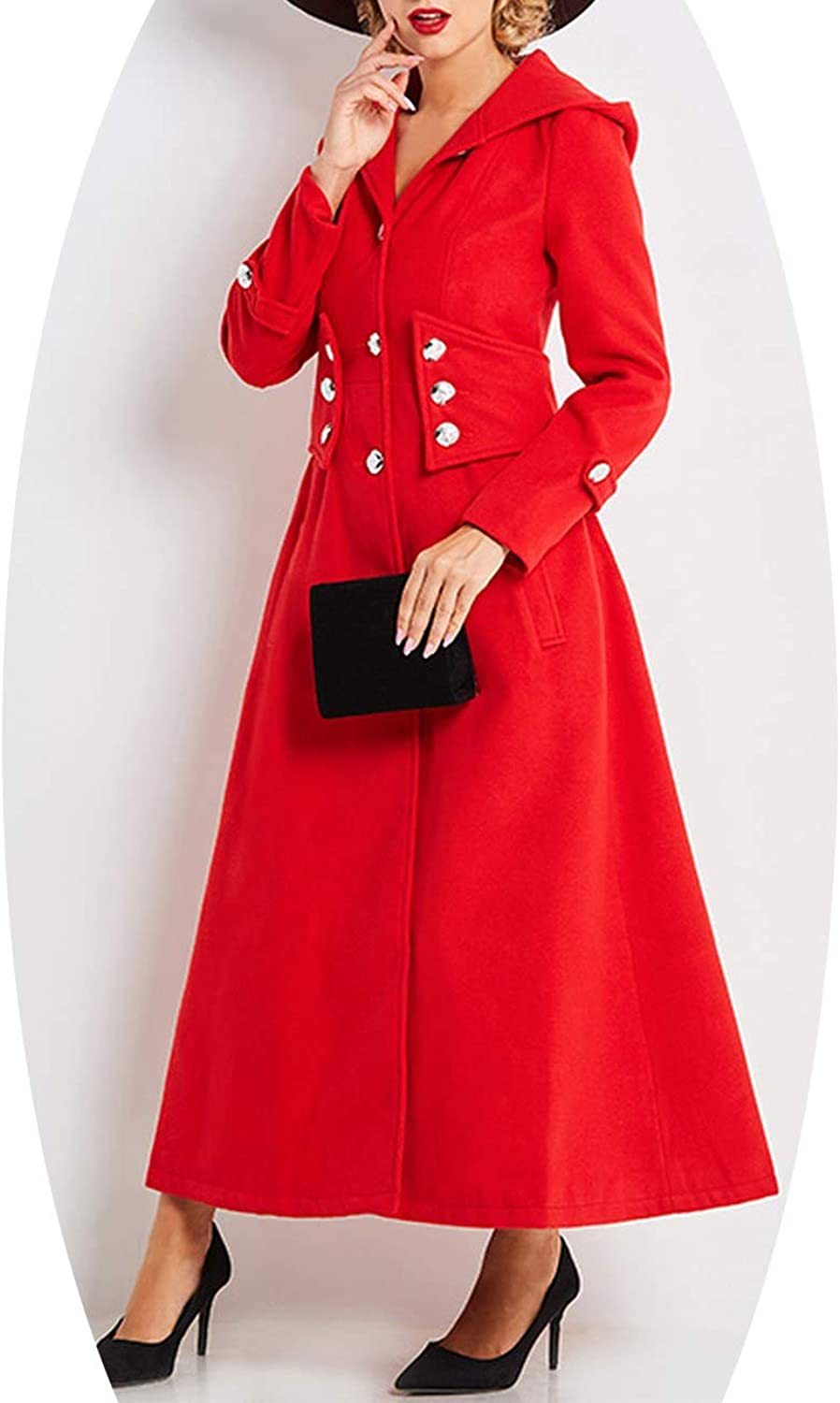 EnjoySexy Women Winter Coats Long Sleeve Single Breasted Slim red Sashes Buttons mid Length Jacket