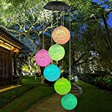 LED Solar Powered Ball Wind Chimes Halloween Decorations Outdoor Solar Powered Skeleton Wind Chime Lights with 6 LED Skeleton Decor Lights for Outdoor Halloween Party Christmas (W Colorful Ball)