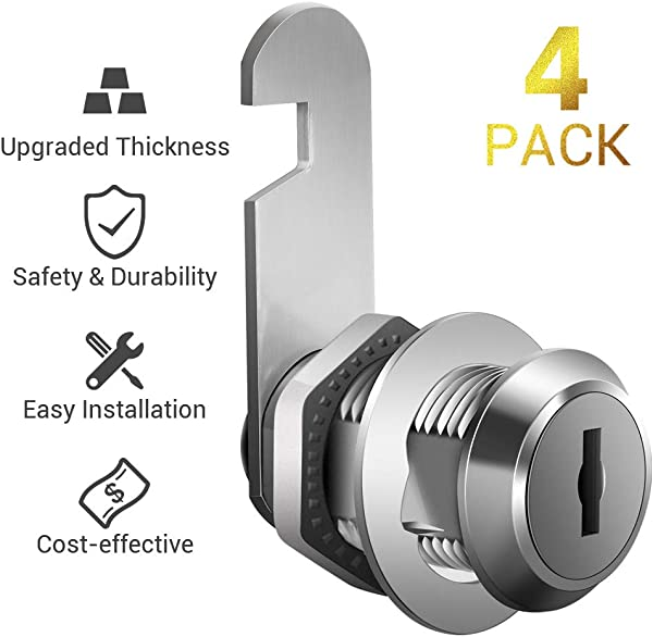 Cabinet Locks 4 Pack File Cabinet Locks Keyed Different 1 1 8 Inch Cam Lock Chrome Plated Zinc Alloy Fits On 1 Max Panel Thickness Secure Your File Cabinet And Drawer RV Door