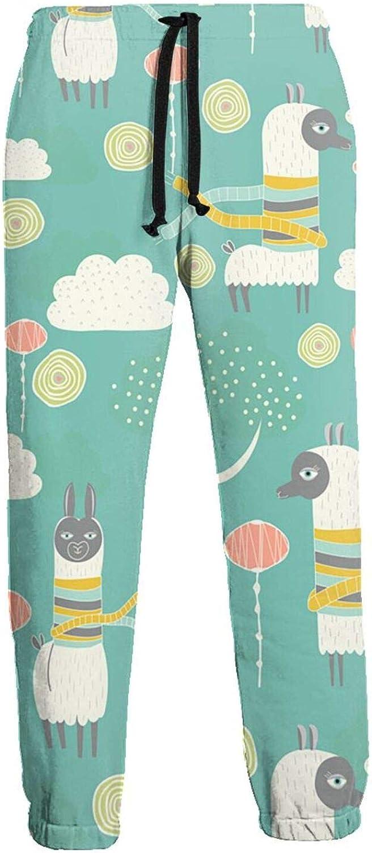 Men's Jogger Sweatpants Cartoon Llama Cloud Tree 3D Loose Joggers Pants with Drawstring Long Pants