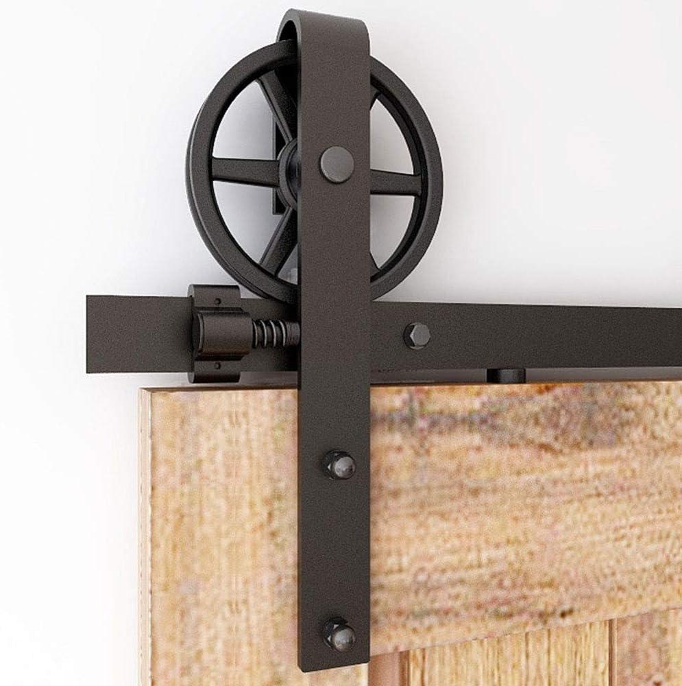 CCJH 152cm/5FT Herraje para Puertas Correderas Kit de Accesorios para Puertas Corredizas, Rodillo de Rueda Grande para Una Sola Puerta