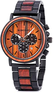 Men's Red Sandalwood Wooden Watches, Wood & Stainless Steel Watch Multi-fuctional Luminous Pointers, Classic Wood Wrist Watch for Men with Bamboo Gift Box