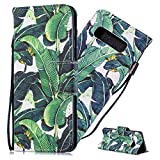 Asdsinfor Galaxy S10 Case Full Stylish Advanced Colorful Painted Wallet Case Credit Cards Slot with Stand for PU Leather Shockproof Flip Magnetic Case for Samsung Galaxy S10 Banana Leaf HX