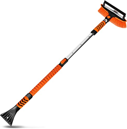 MATCC Car Snow Brush Removal 51'' Extendable Snow Brush with Squeegee and Ice Scraper Detachable Snow Mover for Car A...