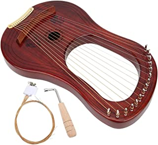 String Instrument, Mahogany with Tuning Hammer Wooden Lyre Harp, for Adult Music Enthusiast Kids Beginners