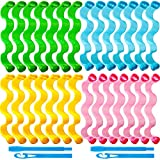 28 Pieces Hair Curlers Spiral Curls No Heat Wave Hair Curlers Styling Kit Spiral Hair Curlers with 2 Pieces Styling Hooks for Most Kinds of Hairstyles