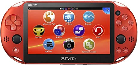 $199 » Sony Playstation Vita Wi-Fi 2000 Series with AC Adapter and Silicon Joystick Covers (Renewed) (Metallic Red)