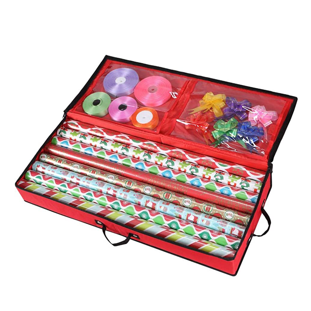 Primode Storage Organizer for 30 Inch Wrapping Paper, Ribbon and Bows Durable 600D Oxford Material (Red)