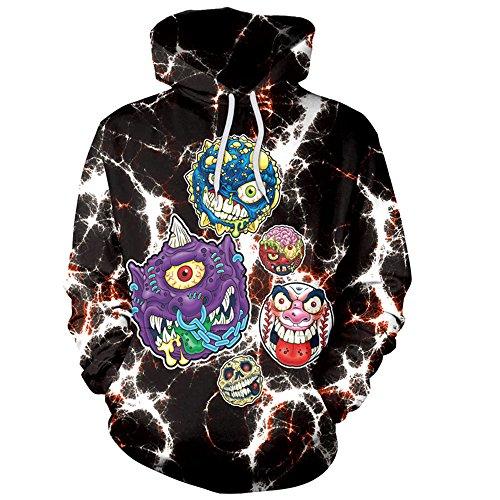 KEERADS Halloween Femmes Casual Hoodies Imprimer Monstre crâne fantôme terroriste Pull à Capuche Sweat-Shirt Pull Tops (M, Noir)
