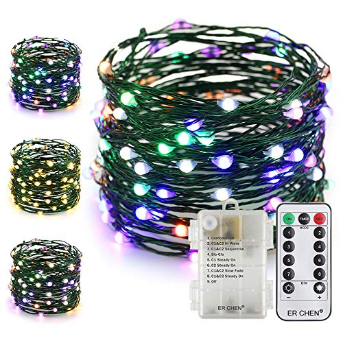 ER CHEN Battery Operated Fairy String Lights with Remote Timer, 33Ft 100 LED Color Changing 8 Modes Green Copper Wire Christmas Lights for Bedroom Indoor Outdoor Decor (Warm White & Multicolor)