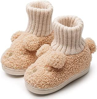GaraTia Toddler Slippers Boys Girls Sock Top Slippers Cute Animal Cartoon Warm Shoes with Pom Pom