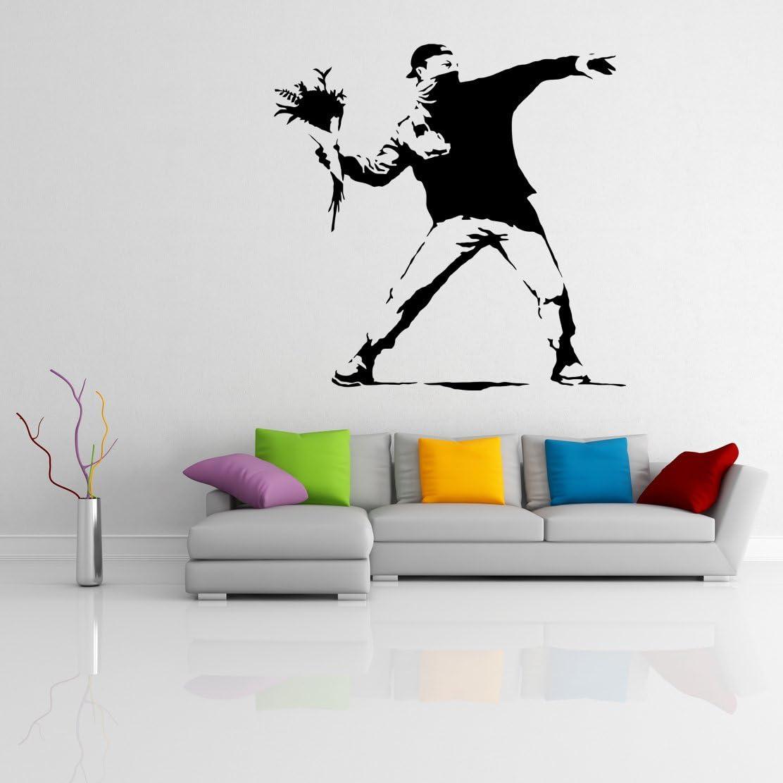 35'' x Banksy (人気激安) 返品交換不可 Vinyl Wall Thrower Decal Flower Protest