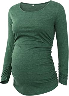 Ecavus المرأة الأمومة بلايز طويلة الأكمام الملابس مغرية الجانب Ruched الحمل تي شيرت