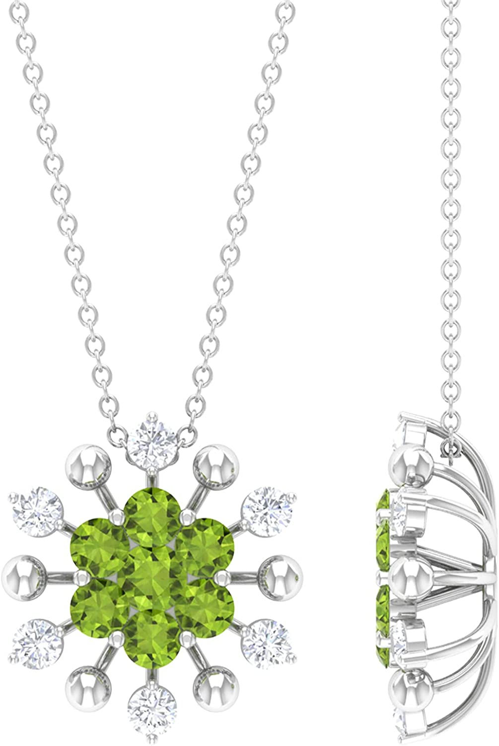 1.25 CT Peridot and Rare Diamond Max 50% OFF Pendant Floral Necklace 14K Cluster