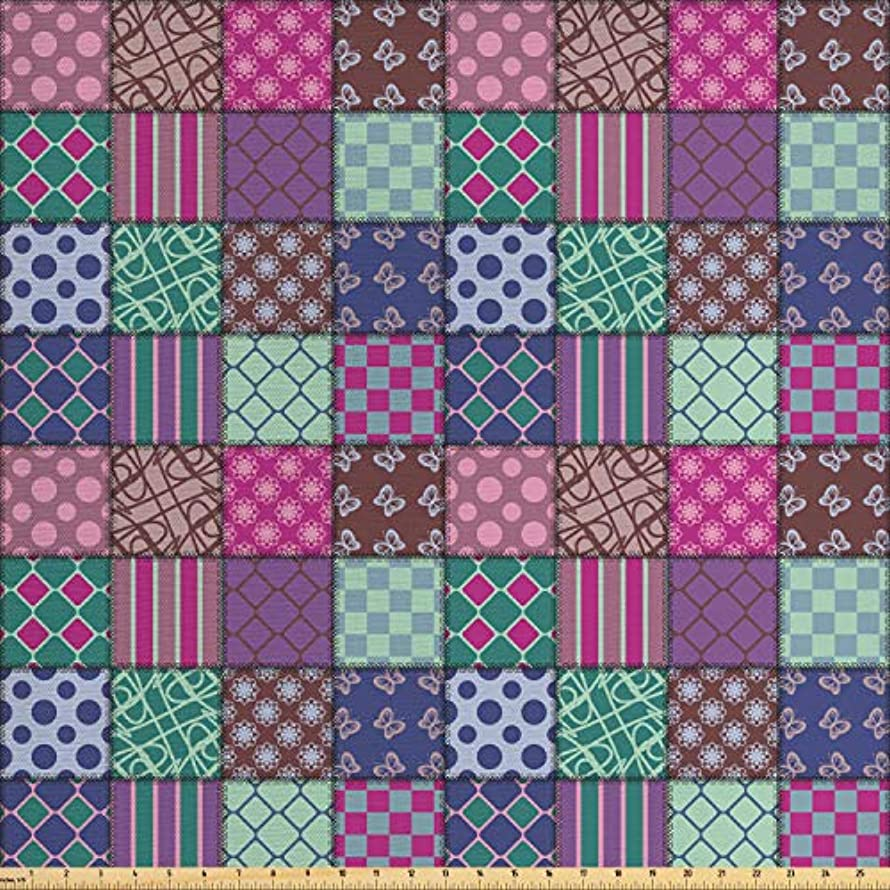 Lunarable Patchwork Fabric by The Yard, Square Mosaic Tile Patterns Decorated with Polka Dots Checkered and Floral Motifs, Decorative Fabric for Upholstery and Home Accents, 3 Yards, Multicolor
