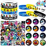 Among Us Merch, 74 Pack Birthday Party Supplies Favors Gifts Set Include 12 Bracelets, 12 Button Pins, 50 Stickers for Video Game Among Us Fans Kids