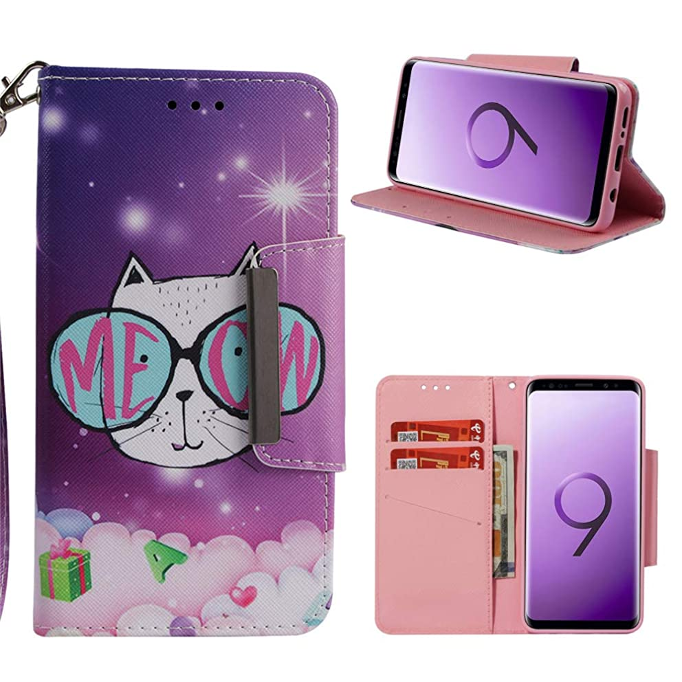 Galaxy S9 Case, S9 Wallet Flip Folio Case Kickstand Card Slots Kawaii Colorful Painting PU Leather Wallet Case Shockproof Soft TPU Shell Bumper Slim Fit Protective Skin Cover for Samsung Galaxy S9