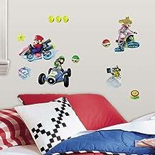 RoomMates RM - Mario Kart met vrienden wandtattoo, PVC, kleurrijk, 29 x 13 x 2,5 cm
