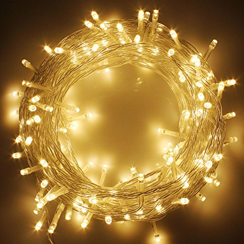 clear christmas tree lights LED Christmas Lights on Clear Cable with 8 Light Effects, Low Voltage LED String Fairy Lights Ideal for Christmas Tree Garden Wedding Party Festival Decoration (300 LEDs,Warm White)