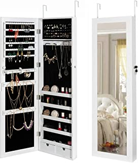HollyHOME Jewelry Cabinet Lockable Wall Door Mounted Organizer Storage with Mirror White