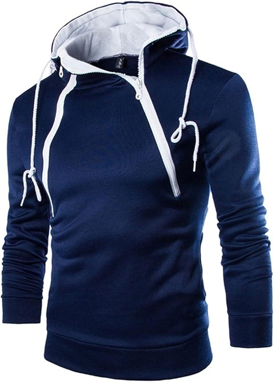 LINKIOM Autumn Winter Men's Solid Color Personality Double Zipper Hoodie