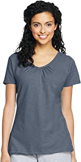 Hanes Women's Shirred V-Neck T-Shirt