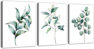 Green Leaf Wall Art Canvas Pictures Bathroom Wall Decor Modern Botanical Watercolor Painting Eucalyptus Leaves Bedroom Decoration Contemporary Bohemian Artwork Framed Ready to Hang 12