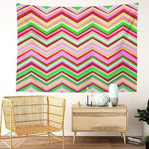 Y·JIANG Tapiz étnico, color rosa y verde zigzag en zigzag, bordes coloridos, tapiz decorativo grande, manta para colgar en la pared para sala de estar, dormitorio, 203 x 152 cm