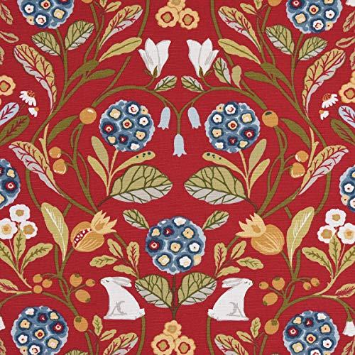 Clarke & Clarke STUDIO G Englischer Dekostoff Baumwollstoff Polsterstoff Blumen Hase rot grün blau 138cm Breite