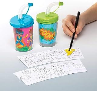 """Baker Ross Mok """"Superhelden"""" om in te kleuren met flexibele rietjes (3 stuks) – knutselidee voor kinderen om te versieren ..."""