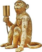 MiniSun – Tafellamp met zittend aapmotief in retro stijl, goud – Aap tafellamp – Tafellamp aap – Aap lamp goud – Aaplamp –...