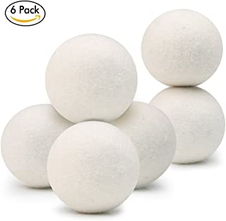 Laundry Wool Dryer Balls- Pack of 6,XL by Klickpick Home 100% Hand Made Organic Natural Fabric Softener,Unscented, Reduce Wrinkles, Shorten Drying Time, Anti Static Felted Wool Clothes Dryer Balls