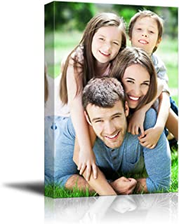 SIGNFORD Personalized Canvas Prints Best Sweet Family Pictures Customize Poster Wall Art with Your Own Pictures Wood Frame Digitally Printed-24x16inches