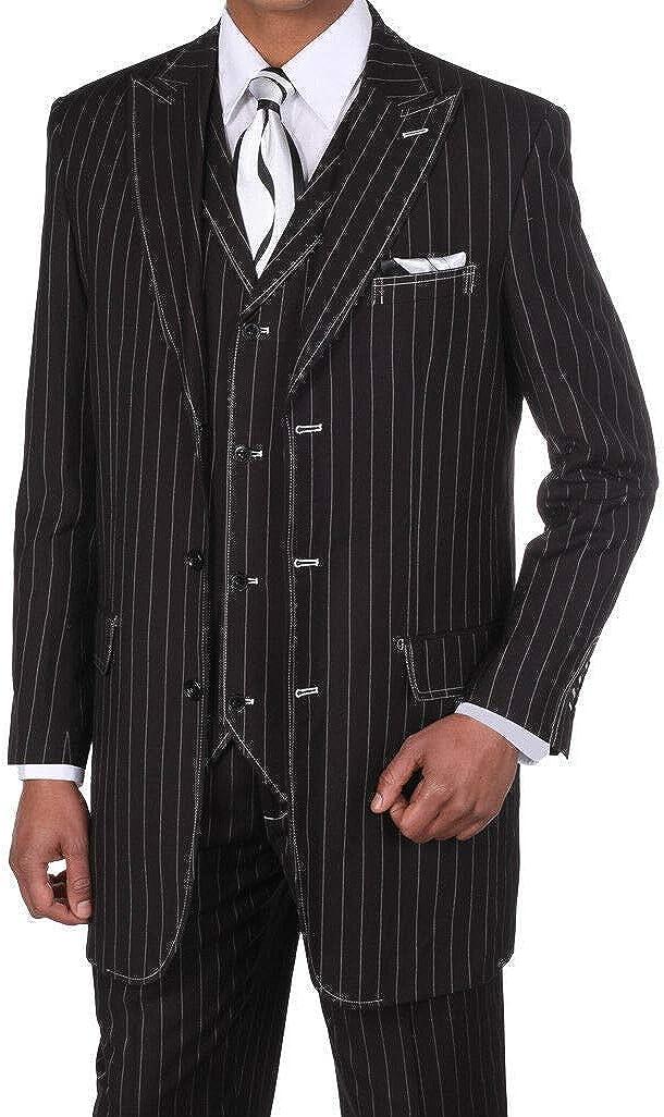 Fortino Landi Pinstripe Design High Fashion Suit with Vest 5903-Bk-Wt-Stripe-58L Black